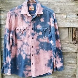 Bleached Cozy Long Sleeve Shirt Upcycled